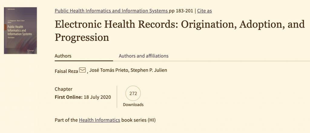 """My contribution to the book """"Public Health Informatics and Information Systems"""""""